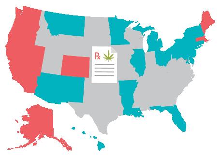 map of states that have legalized prescription marijuana