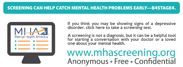 If you think you are showing signs of depression, take a screening at mhascreening.org.  It's free, confidential and anonymous.