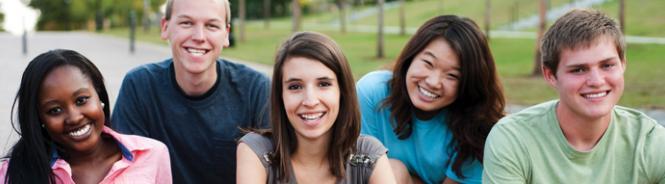 five smiling friends